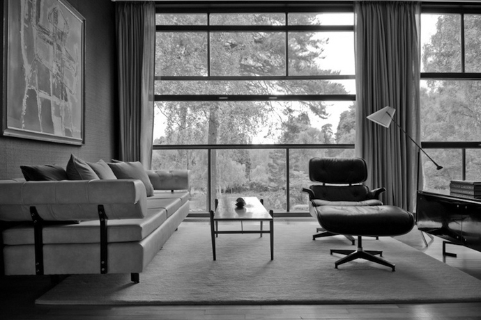 Sofa, coffee table and Eames chair in the Living Room at The Homewood, Surrey
